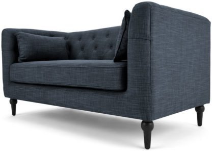 An Image of Flynn 2 Seater Sofa, Atlantic Blue Linen Mix