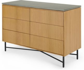 An Image of Dara Wide Chest of Drawers, Oak & Concrete