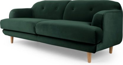 An Image of Gracie 3 Seater Sofa, Pine Green Velvet
