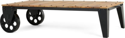 An Image of Humphrey Industrial Coffee Table, Wood and Antique Gunmetal