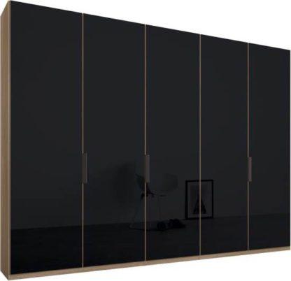 An Image of Caren 5 door 250cm Hinged Wardrobe, Oak Frame, Basalt Grey Glass Doors, Standard Interior