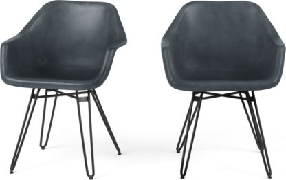 An Image of Set of 2 Hektor Tub Dining Chair, Grey Leather and Black
