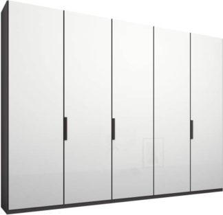 An Image of Caren 5 door 250cm Hinged Wardrobe, Graphite Grey Frame, White Glass Doors, Standard Interior