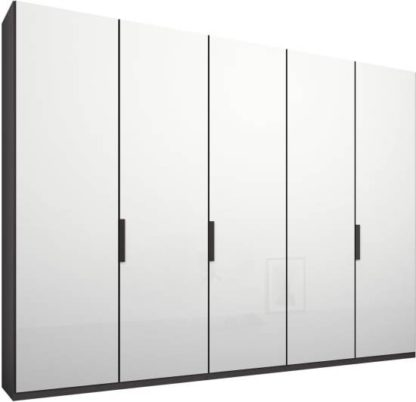 An Image of Caren 5 door 250cm Hinged Wardrobe, Graphite Grey Frame, White Glass Doors, Standard Interior