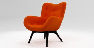 An Image of Custom MADE Doris Accent Chair, Citrus Orange Velvet with Black Wood Leg