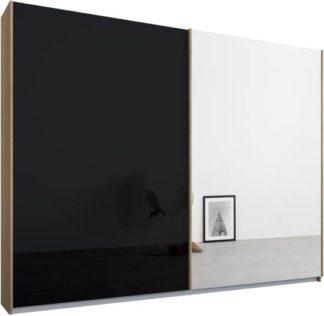 An Image of Malix 2 door 225cm Sliding Wardrobe, Oak frame,Basalt Grey Glass & Mirror doors , Premium Interior