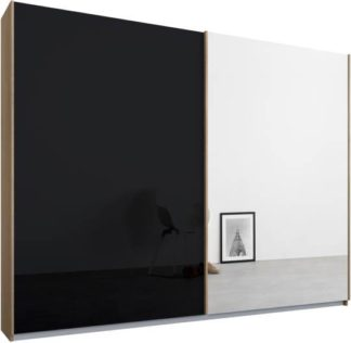 An Image of Malix 2 door 225cm Sliding Wardrobe, Oak frame,Basalt Grey Glass & Mirror doors, Standard Interior