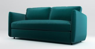An Image of Custom MADE Fletcher 3 Seater Sofabed with Memory Foam Mattress, Tuscan Teal Velvet