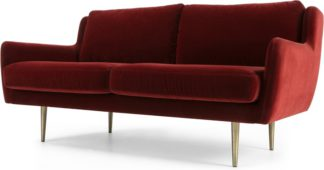 An Image of Simone 2 Seater Sofa, Claret Cotton Velvet