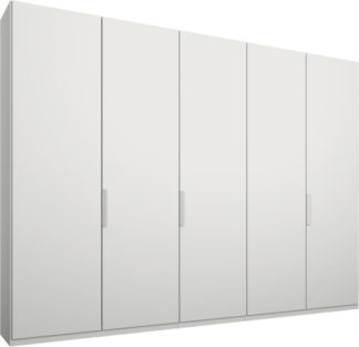 An Image of Caren 5 door 250cm Hinged Wardrobe, White Frame, Matt White Doors, Premium Interior