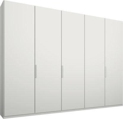 An Image of Caren 5 door 250cm Hinged Wardrobe, White Frame, Matt White Doors, Standard Interior