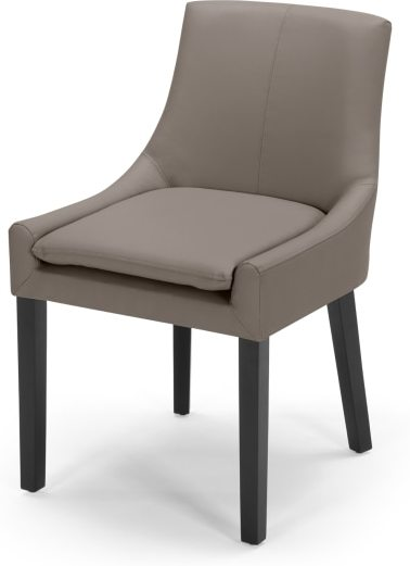 An Image of Percy Scoop Back Chair, Pewter Grey PU