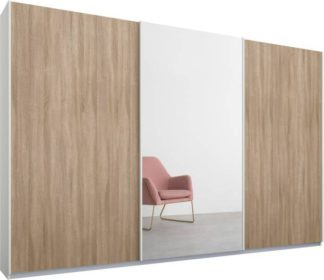 An Image of Malix 3 door 270cm Sliding Wardrobe, White frame,Oak & Mirror doors , Premium Interior