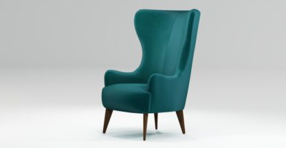 An Image of Custom MADE Bodil Accent Chair, Tuscan Teal Velvet with Dark Wood Leg