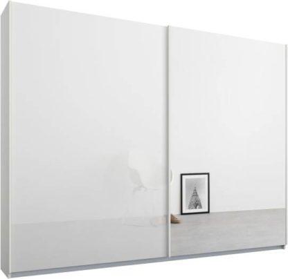 An Image of Malix 2 door 225cm Sliding Wardrobe, White frame,White Glass & Mirror doors , Premium Interior