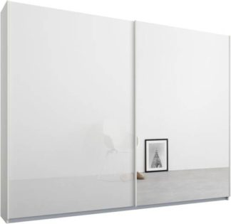 An Image of Malix 2 door 225cm Sliding Wardrobe, White frame,White Glass & Mirror doors, Standard Interior