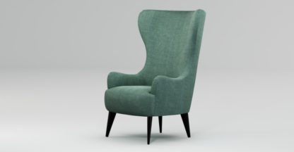 An Image of Custom MADE Bodil Accent Chair, Duck Egg Blue with Black Wood Leg