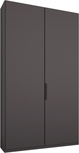 An Image of Caren 2 door 100cm Hinged Wardrobe, Graphite Grey Frame, Matt Graphite Grey Doors, Premium Interior