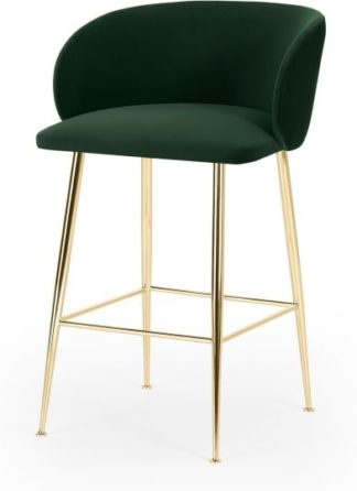 An Image of Adeline Counter Height Bar Stool, Pine Green Velvet & Brass