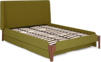 An Image of Roscoe Double Bed with Drawer Storage, Olive Green & Walnut Stain Legs