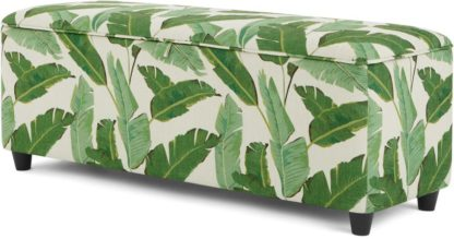 An Image of Burcot Upholstered Storage Bench, Leaf Print