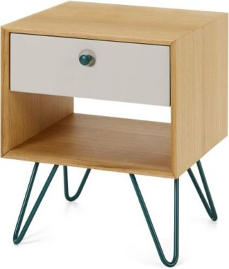 An Image of Dotty Bedside Table, Oak & Grey