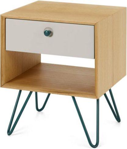 An Image of Dotty Bedside Table, Oak & Grey