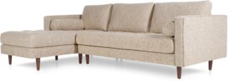 An Image of Scott 4 Seater Left Hand Facing Chaise End Corner Sofa, Amber Basketweave