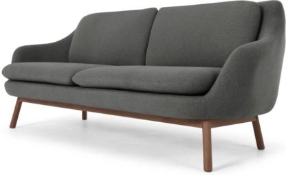 An Image of Oslo 3 Seater Sofa, Marl Grey with Dark Stained Oak Legs