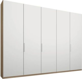 An Image of Caren 5 door 250cm Hinged Wardrobe, Oak Frame, Matt White Doors, Premium Interior