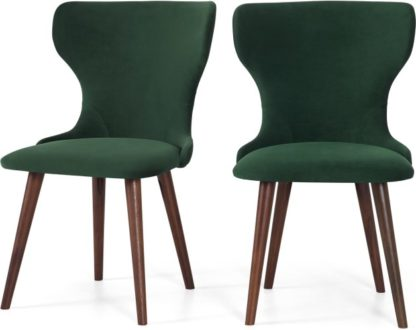An Image of Set of 2 Bjorg Dining Chairs, Pine Green Velvet and Walnut