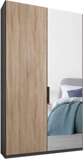 An Image of Caren 2 door 100cm Hinged Wardrobe, Graphite Grey Frame, Oak & Mirror Doors, Classic Interior