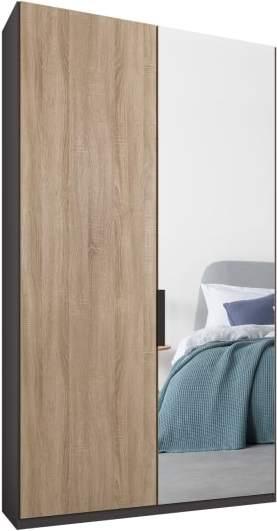 An Image of Caren 2 door 100cm Hinged Wardrobe, Graphite Grey Frame, Oak & Mirror Doors, Premium Interior