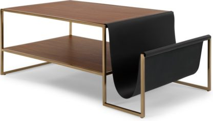 An Image of Finn Coffee Table, Leather and Walnut