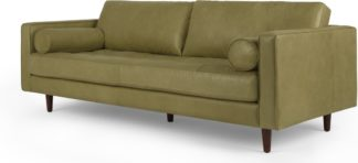An Image of Scott 3 Seater Sofa, Chalk Olive Premium Leather
