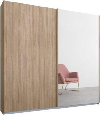 An Image of Malix 2 door 181cm Sliding Wardrobe, Oak frame,Oak & Mirror doors, Standard Interior