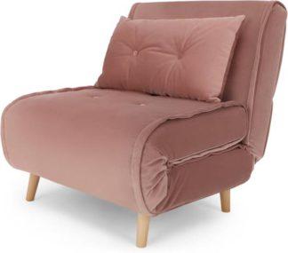An Image of Haru Single Sofa Bed, Velvet Vintage Pink