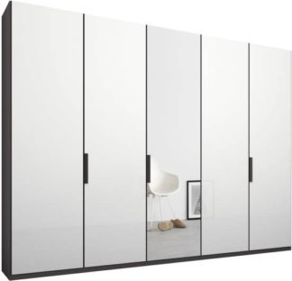 An Image of Caren 5 door 250cm Hinged Wardrobe, Graphite Grey Frame, White Glass & Mirror Doors, Standard Interior