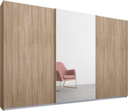 An Image of Malix 3 door 270cm Sliding Wardrobe, Oak frame,Oak & Mirror doors , Premium Interior