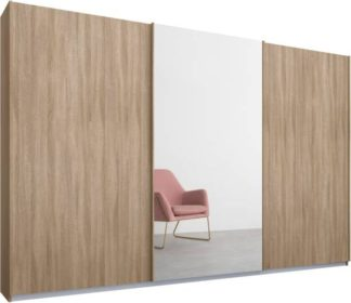 An Image of Malix 3 door 270cm Sliding Wardrobe, Oak frame,Oak & Mirror doors, Standard Interior