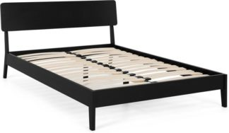 An Image of MADE Essentials Noka Double Bed, Black Stain