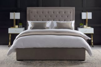 An Image of ZENO Upholstered Bed - Feather Grey