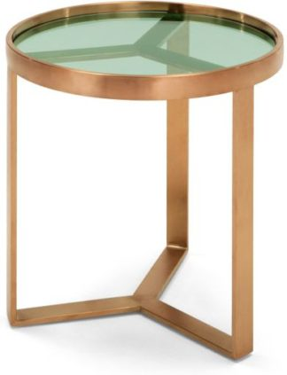An Image of Aula Side Table, Brushed Copper and Green Glass