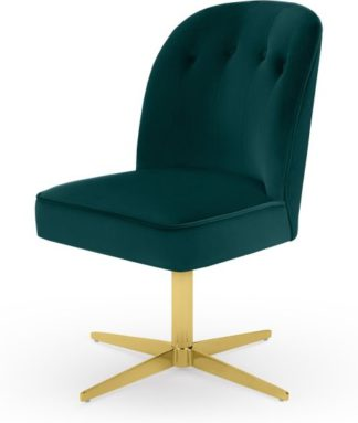 An Image of Margot Office Chair, Seafoam Blue and Brass