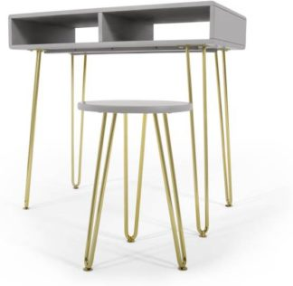An Image of Cal Desk and Stool Set, Grey and Brass