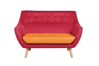 An Image of Poet Sofa, Luxor Cranberry Two Tones