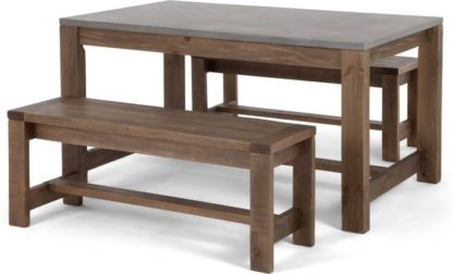 An Image of Bala Dining Table and Bench Set, Solid wood and Concrete