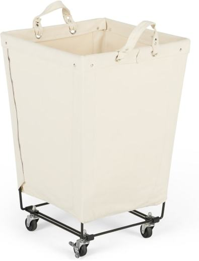 An Image of Dennie Large Canvas Square Laundry Cart, Black & Cream