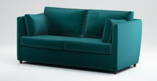 An Image of Custom MADE Milner Sofa Bed with Foam Mattress, Tuscan Teal Velvet