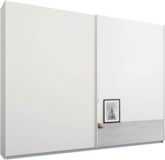 An Image of Malix 2 door 225cm Sliding Wardrobe, White frame,Matt White & Mirror doors, Standard Interior